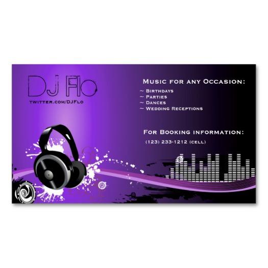 Purple Dj Headset Business Cards Eatlovepray